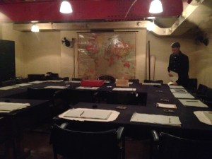 The War Room during WWll   Churchill logged over 100,000 miles visiting the troops