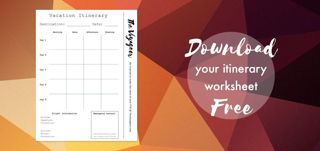 Itinerary Sheet Download