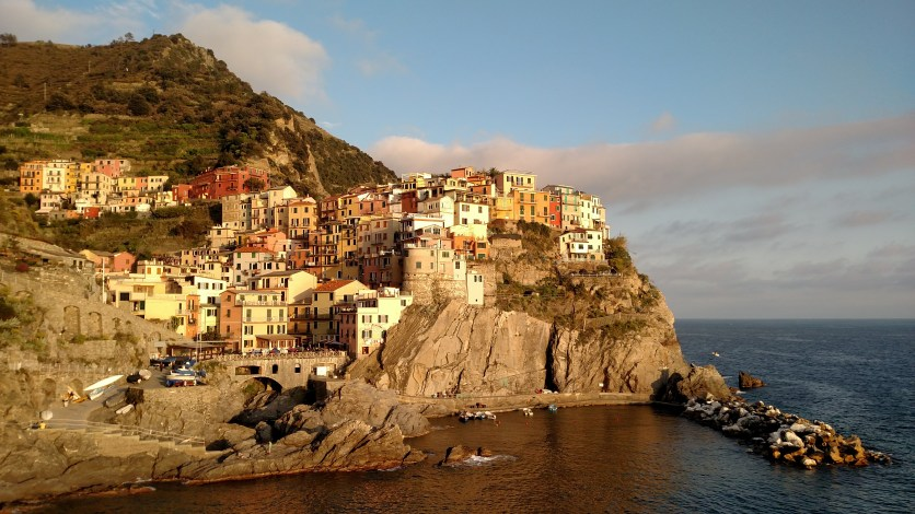 view of Manarola from the restaurant