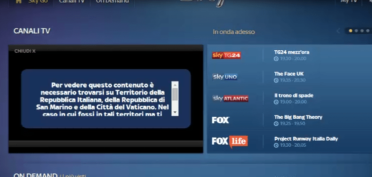 Unblock and watch Sky Go Italia outside Italy using VPN