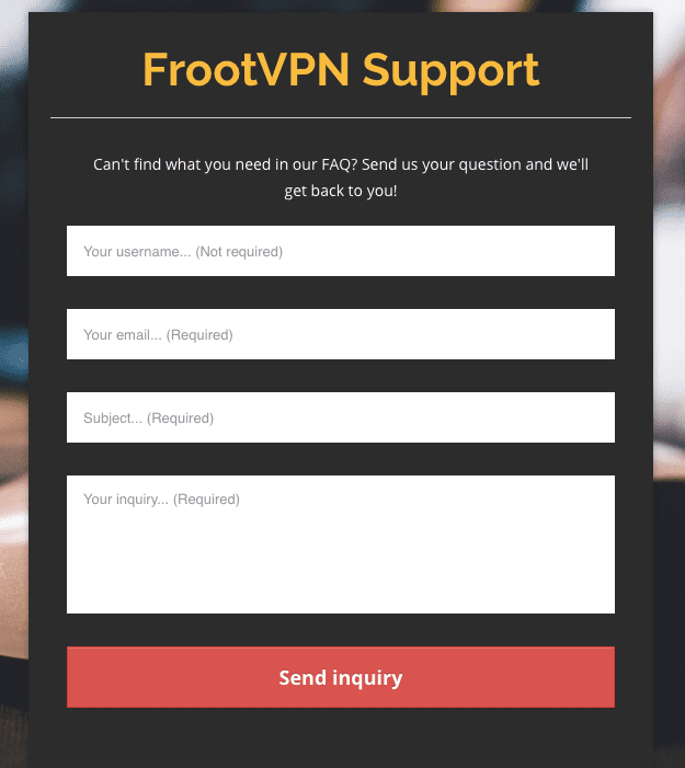 FrootVPN Review - Customer Support
