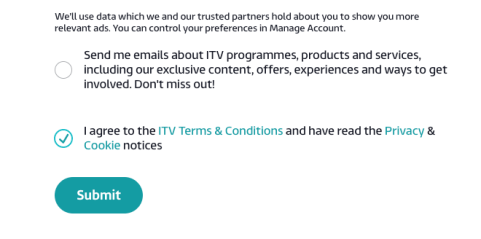ITV Hub Agree and Sumbit