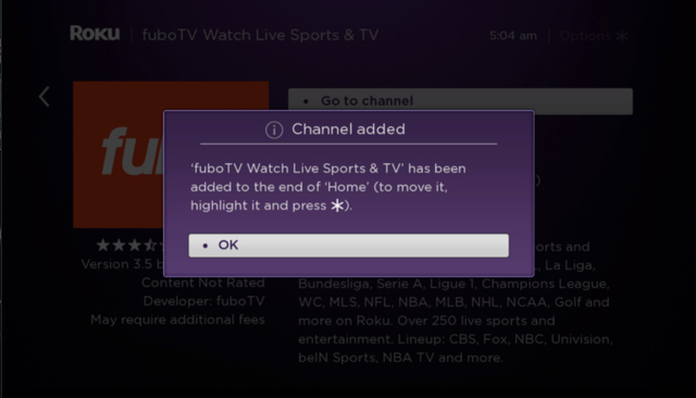 Fubo Tv added Channel