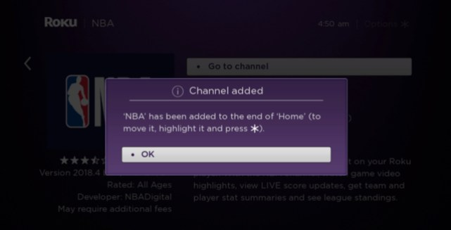 NBA Channel added
