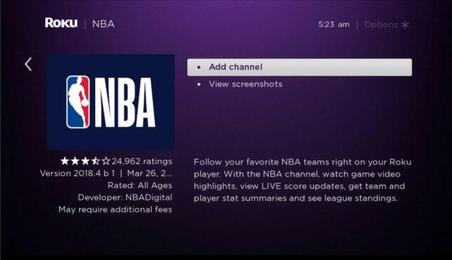 NBA add Channel