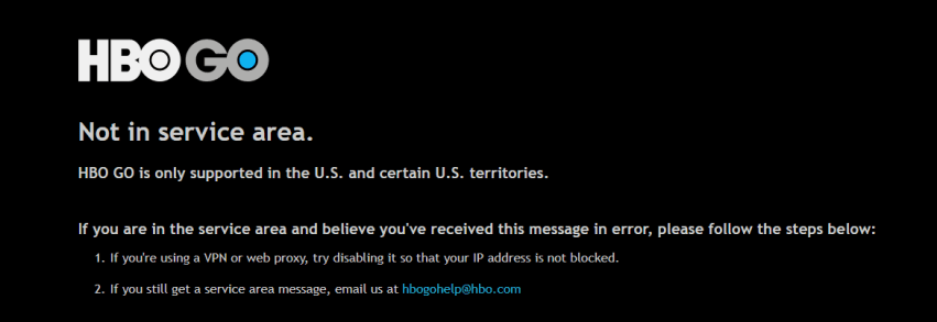 HBO GO Geo-Error outside the USA
