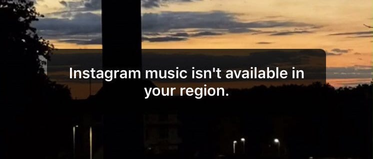 Instagram Music Not Available Error