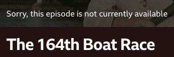 BBC iPlayer Boat Race Error