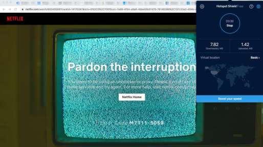 Netflix Hotspot Shield Error