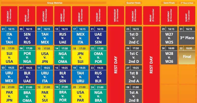 Beach Soccer Schedule