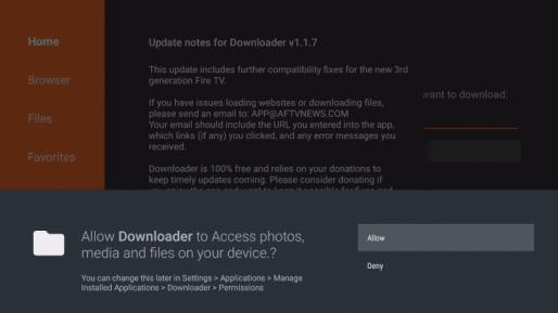 Downloader Allow Access