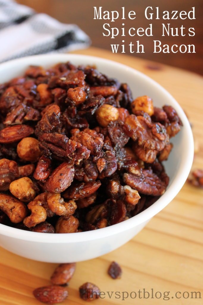 Maple Glazed Spiced Nuts With Bacon Bits An Elevated
