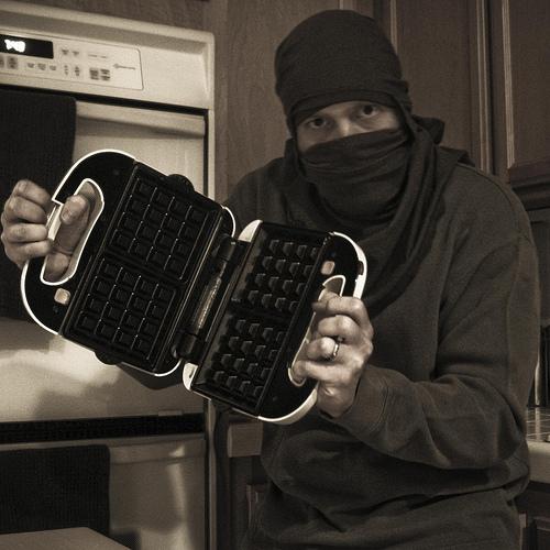 """Crouching T-shirt, Hidden Waffle"" by Jeff the Trojan"