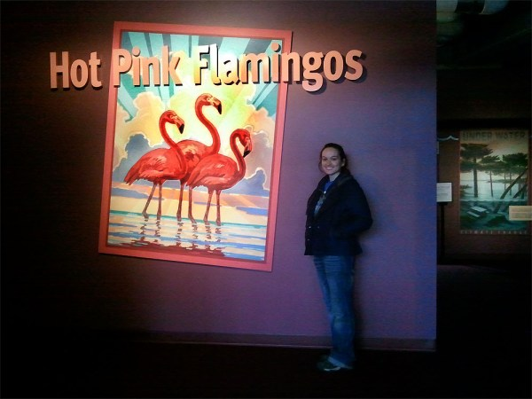 Monika at the Hot Pink Flamingos Exhibit