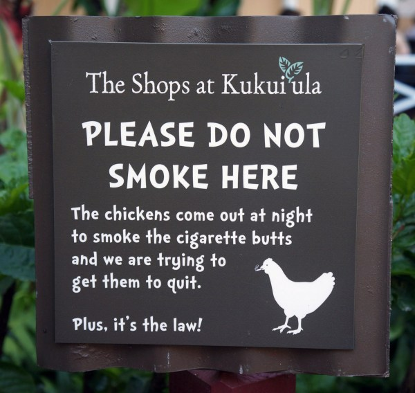 photograph of sign asking people not to smoke