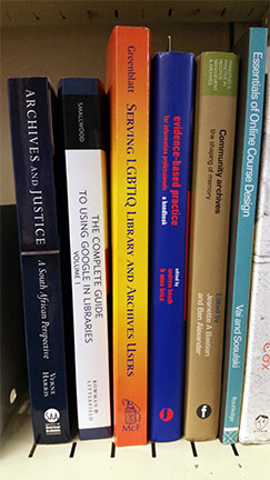 photograph of book spines showing that text runs from top to bottom of spine for easy reading