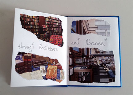 "photograph of open book with the words ""through bookstores and libraries"" written on the pages"
