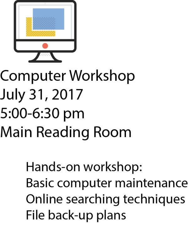 image of a desktop with caption for computer workshop that is not in alignment with the image or with the other text block