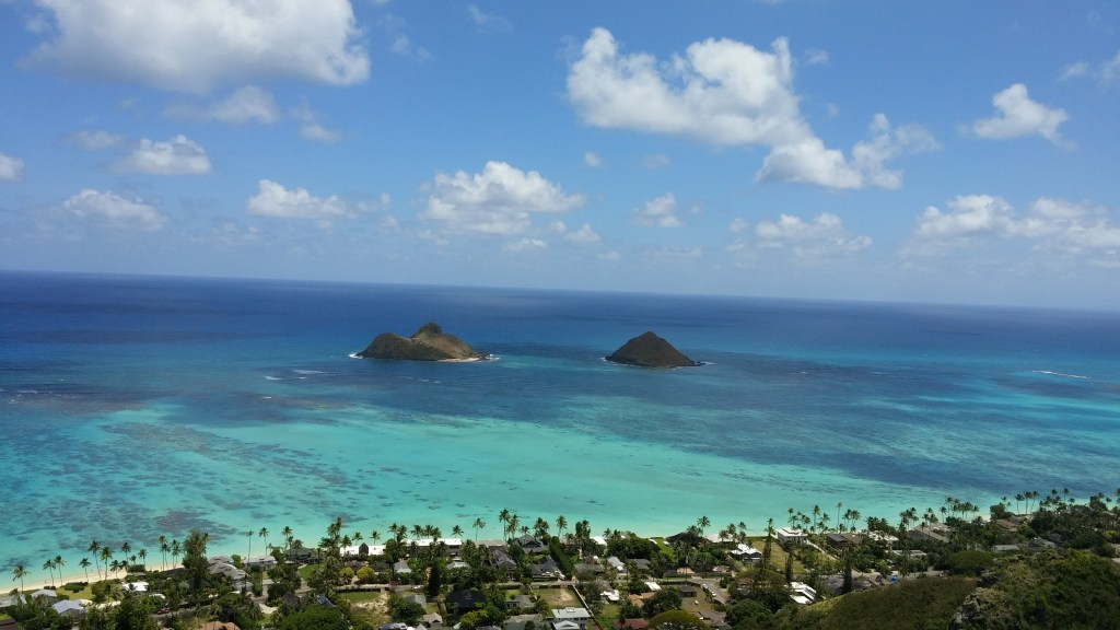 lanikai pillbox hike ocean aerial view kailua oahu hawaii