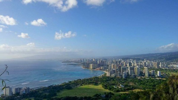view of honolulu from diamond head crater state park hawaii