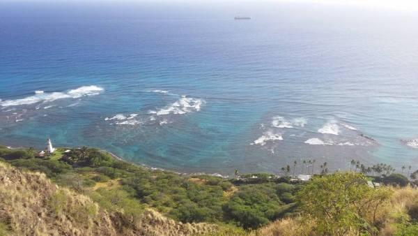 overlooking the ocean diamond head crater state park honolulu hawaii