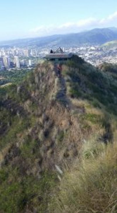 ridge of diamond head crater overlooking honolulu hawaii city