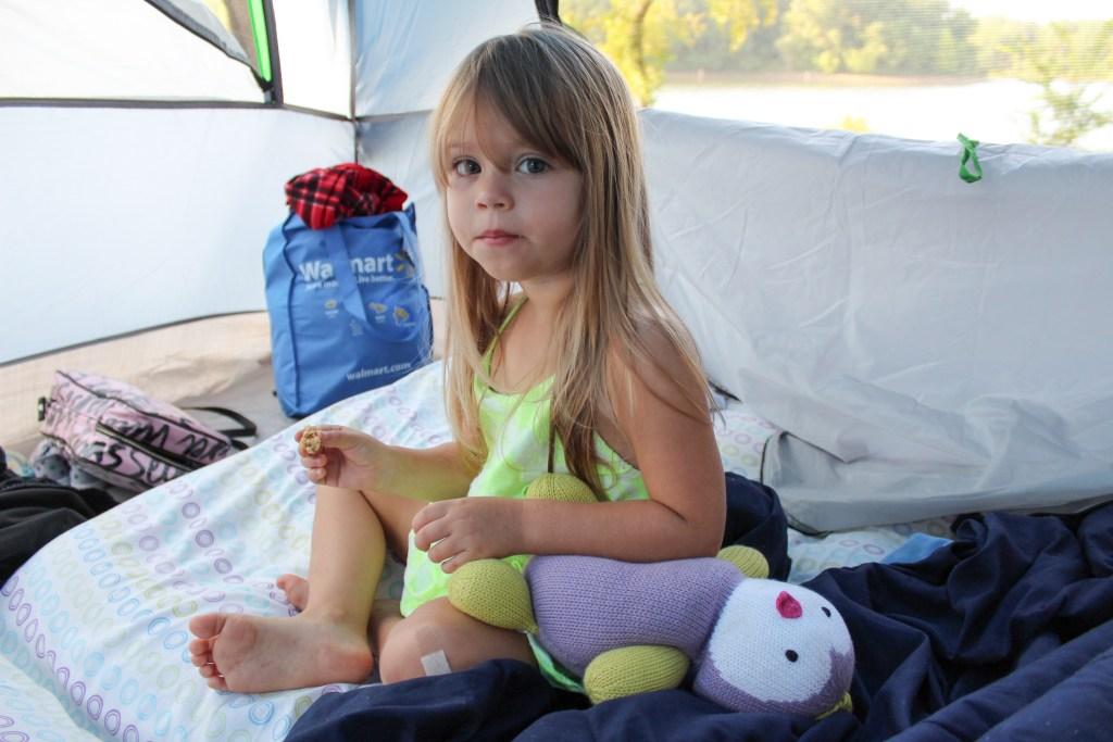 girl in tent camping trip the walking mermaid
