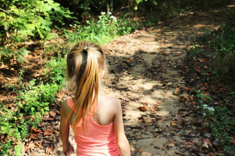 Rotary Park Clarksville Tennessee girl on hiking trail