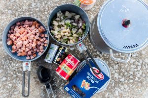 turkey sausage pasta camp recipes camping meals