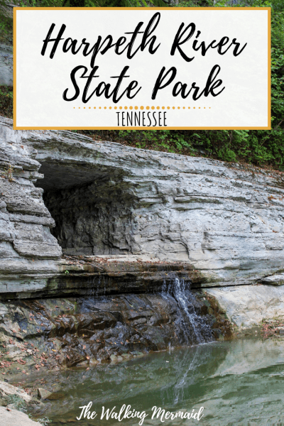 harpeth river state park waterfall tunnel in a rock mountain in nashville tennessee overlay