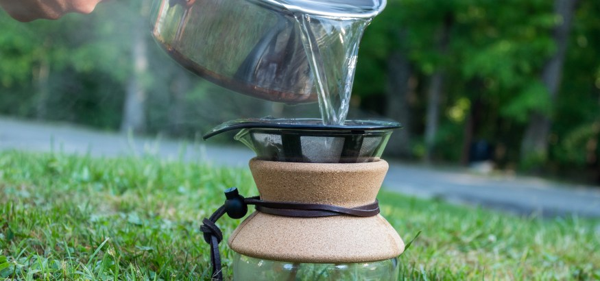 pour over coffee outdoors camping camp coffee hot water