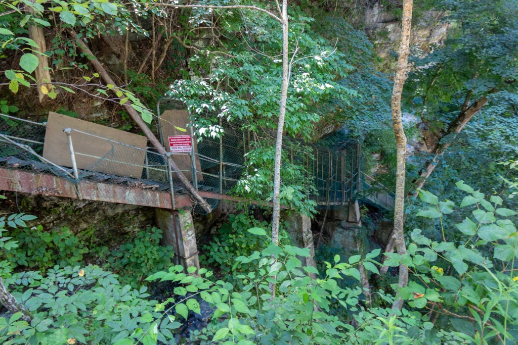 top of waterfall burgess falls state park tennessee stairs