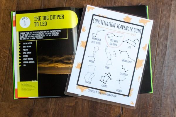 books and children's activity scavenger hunt constellation stars astronomy