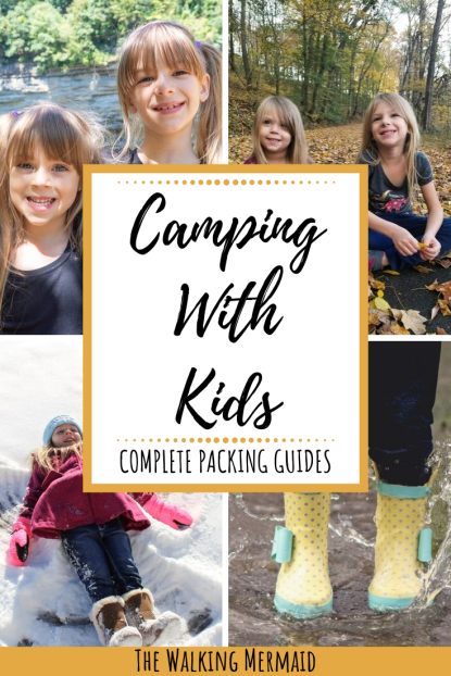 camping with kids collage overlay packing list guide