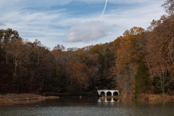 dunbar cave state park lake views fall autumn trees clarksville tennessee