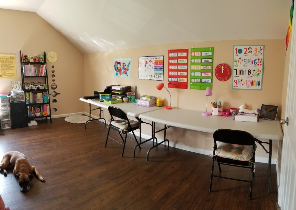 Homeschool Room set up organization reveal