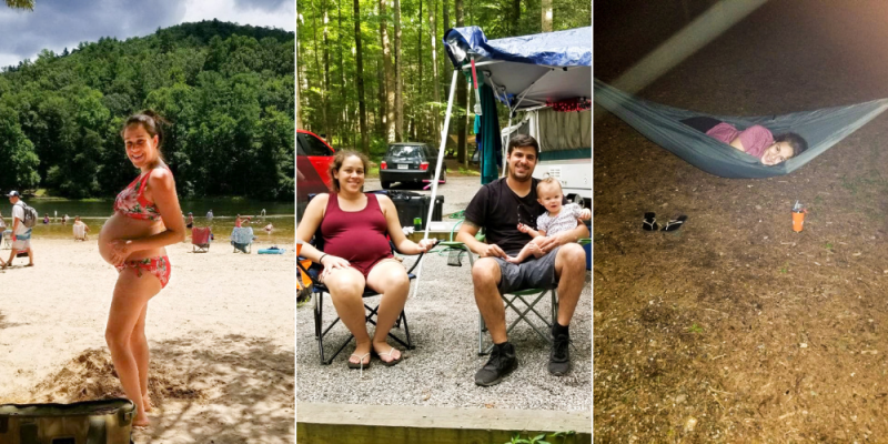 photo collage of a pregnant woman camping, swimming at the lake and sitting at the campground with her husband and niece