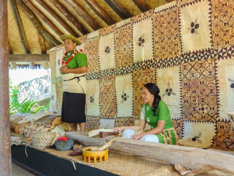 Hawaiians teaching the art of lauhala weaving. Village of Hawai'i at The Polynesian Cultural Center.