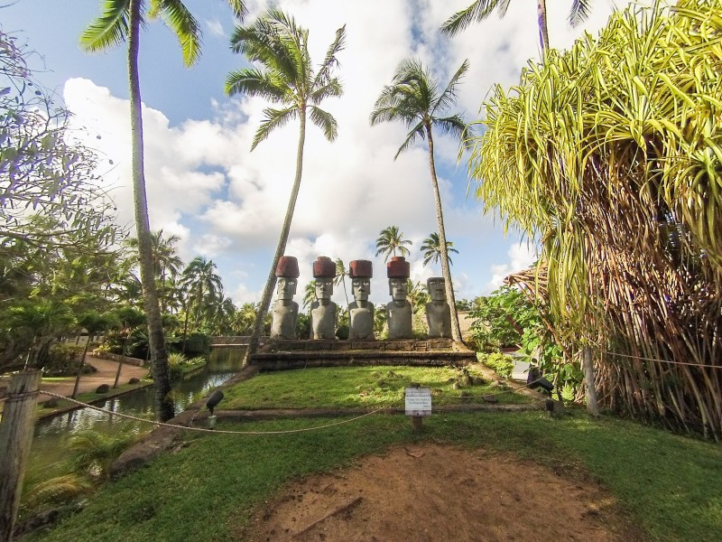 Statues at Polynesian Cultural Center in Oahu, Hawaii.