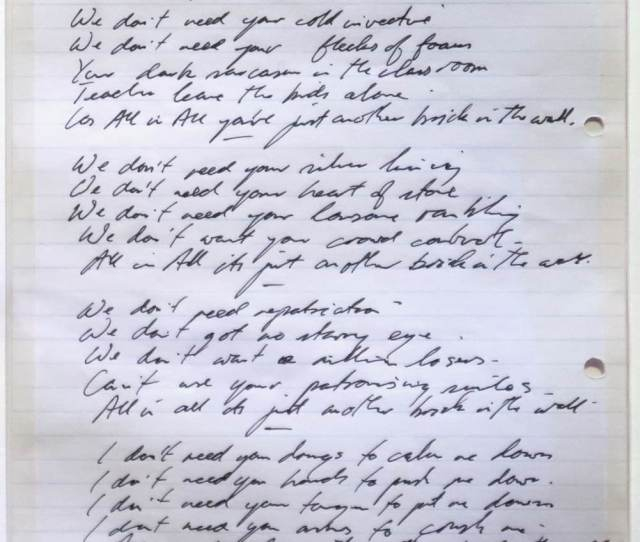 Another Brick In The Wall Original Lyrics Roger Waters Original Handwritten Lyrics On Display At 2017s Their Mortal Remains Exhibit In London