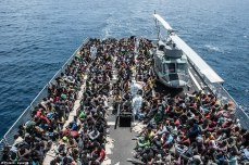 These are the refugees aboard the Spica, a boat many times the size of the rickety vessel they were all crammed onto.