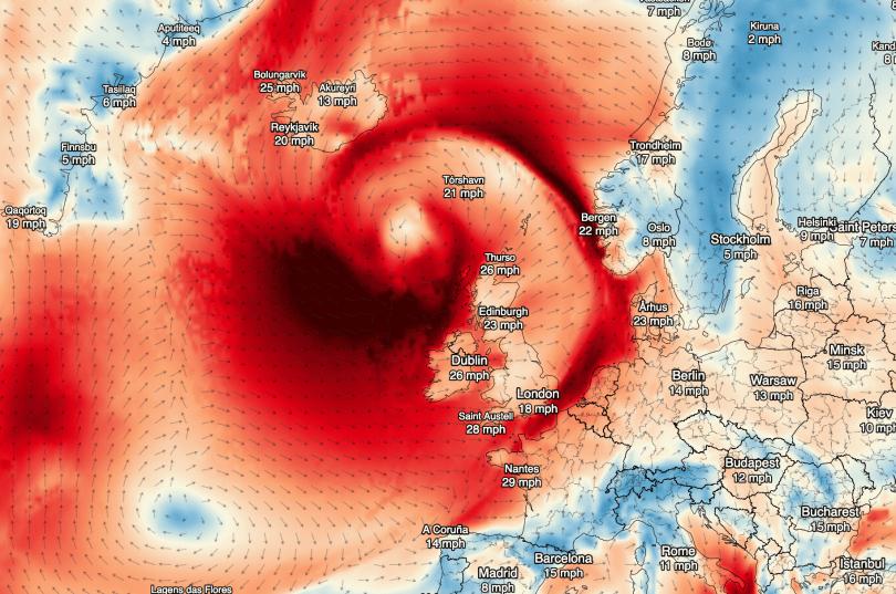 Wind Gust Chart from Dark Sky