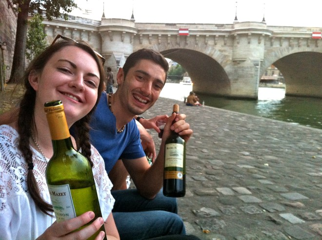 Drinking wine on the banks of the Seine