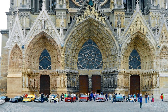 Classic Car Show outside Notre Dame Cathesdral Reims