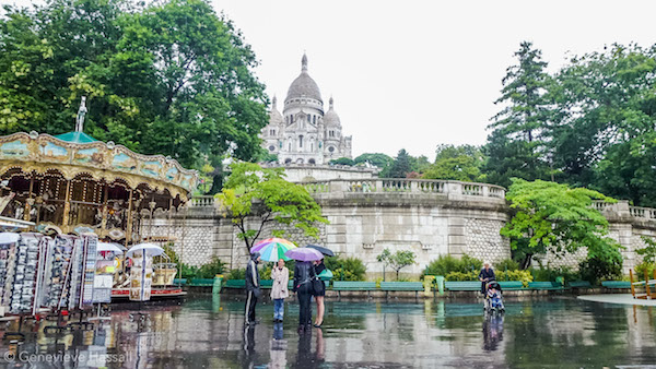 Sacre Coeur on a rainy day Paris