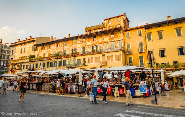 Markets Piazza in Verona Italy