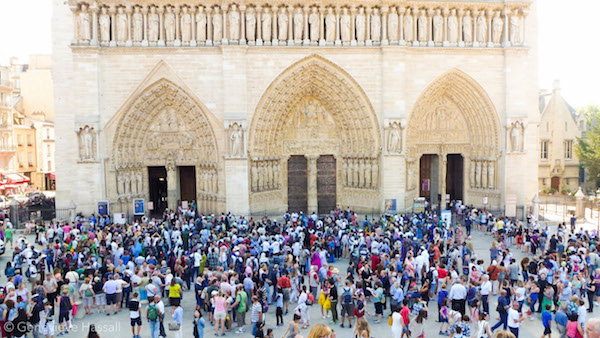 Crowds at Notre Dame Paris