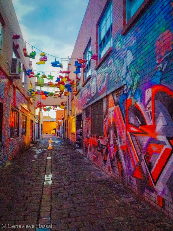 Rainbow street art alleyway windsor