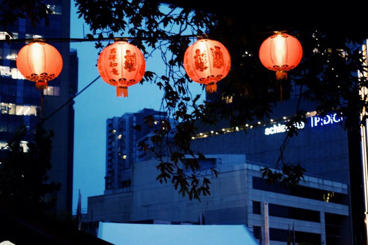 C / According to Chinese legend, the monster Nian was scared of the colour red. Nian visited at Chinese New Year, which is why red lanterns are used in the festival