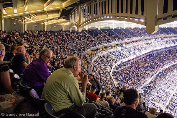 Baseball fans at Yankees vs Red Sox at Yankee Stadium